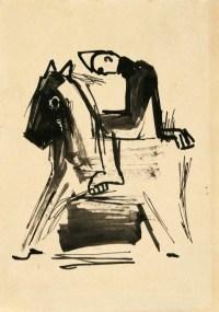 Szkic do pajaca na koniu (1949-1953) tusz, papier, 21x14,5 cm w zbiorach Muzeum Narodowego we Wrocławiu fot. Arkadiusz Podstawka