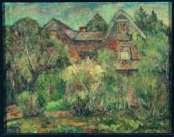 Pejzaż z domami (1946) olej, płótno, 61,5x78 cm w zbiorach Muzeum Narodowego we Wrocławiu fot. Arkadiusz Podstawka