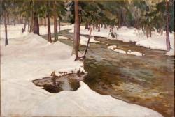 Strumień leśny 1919, olej na płótnie dzięki uprzejmości Muzeum Narodowemu w Krakowie