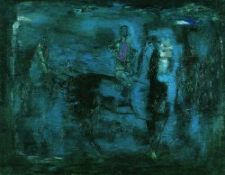 Błękitny obraz / Blue Image (1967) oil on canvas, 114x146 cm, collection of the National Museum in Wrocław. Photo: National Museum in Wrocław