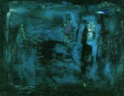 Błękitny obraz (1967) olej, płótno, 114x146 cm w zbiorach Muzeum Narodowego we Wrocławiu fot. pracownia fotograficzna MNWr
