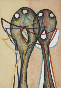 Kompozycja z cyklu Głowy, monotypia barwna, papier, 61x42,7 cm; fot. dzięki uprzejmości Galerii aTAK
