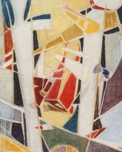 Kompozycja (1949) olej, tempera, płótno; 100x81 cm; w zbiorach Muzeum Narodowego we Wrocławiu fot. Arkadiusz Podstawka