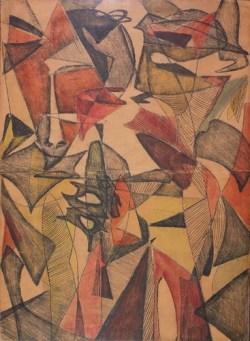 Wyrazy monotypia, tempera, papier naklejony na płótno; 58x42,5 cm; fot. dzięki uprzejmości Galerii aTAK
