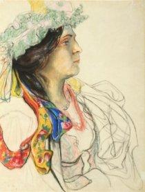 """Stanisław Wyspiański, """"Portret Wandy Siemaszkowej w stroju scenicznym Panny Młodej z 'Wesela'"""", 1901, pastel, papier, fot. Tomasz Szemalikowski"""
