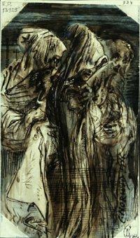 Trzy postacie w zasłonach na twarzy, papier, pióro, akwarela, foto. G. Policewicz, w zbiorach, Muzeum Narodowego w Warszawie