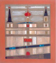 """Jerzy Nowosielski, """"Cerkiew"""", 1992, olej na płótnie"""