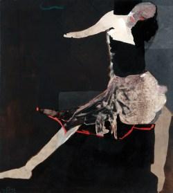 Siedząca w spódnicy 1978 akryl, płótno; 145x130 cm fot. dzięki uprzejmości Galerii Atak