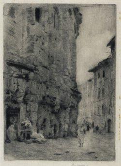 Teatr Marcellusa w Rzymie ok. 1889, papier japoński, sucha igła w zbiorach Muzeum Narodowego w Warszawie