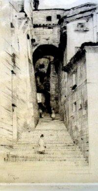 Ulica w Sienie I 1900, sucha igła w zbiorach Muzeum Narodowego w Warszawie