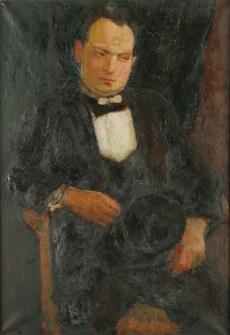 Portret mężczyzny z cylindrem (ok. 1926) olej, płótno, 99,2x69 cm w zbiorach Muzeum Narodowego we Wrocławiu fot. Arkadiusz Podstawka