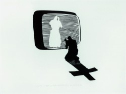 Wizyta - spotkanie XIII 1983 linoryt, papier; 48x70 cm w zbiorach Muzeum Narodowego we Wrocławiu fot. pracownia fotograficzna MNWr