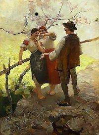 Huculi w rozmowie ok. 1888, olej na desce dzięki uprzejmości Muzeum Narodowego w Krakowie