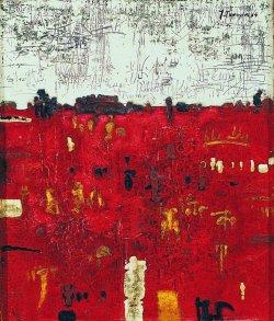 """""""Brzeg czerwony"""" 1964, olej, płótno; 70x60 cm, w zbiorach Muzeum Narodowego we Wrocławiu"""