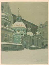 Kaplica Zygmuntowska w śniegu 1914, litografia barwna dzięki uprzejmości Muzeum Narodowego w Krakowie