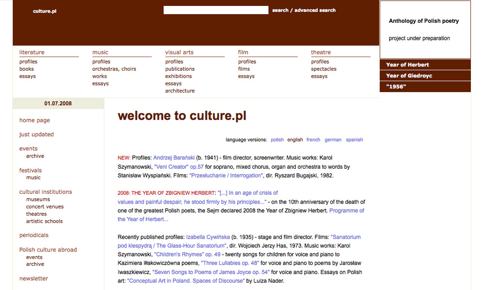 Culture.pl, 2008