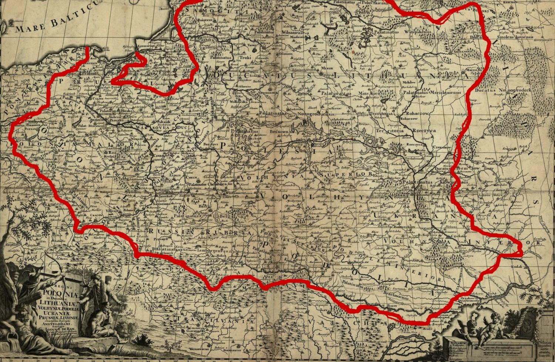 """Johannes de Ram (1648-1693), """"Regni Poloniae et Ducatus Lithuaniae, Volhyniae, Podoliae, Ucraniae, Prussiae, Livoniae exactissima descriptio""""; Source: Polona.pl"""