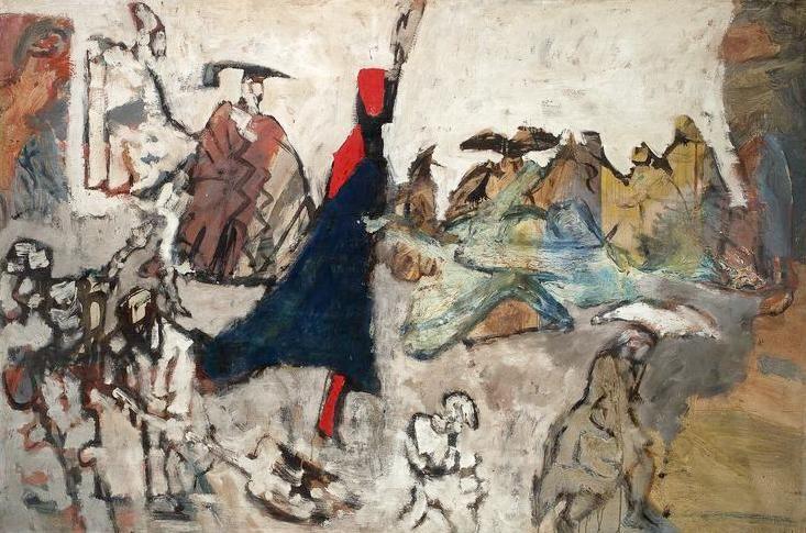 """Feliks Topolski, """"Deszcz po koronacji"""", 1959, olej na płycie pilśniowej, 120x181,5 cm, fot. Muzeum Narodowe w Warszawie"""