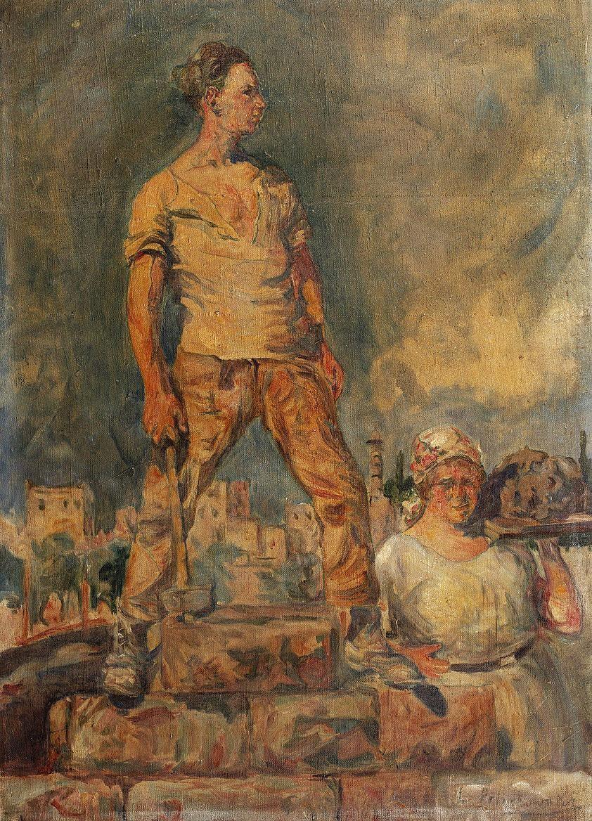 """Leopold Pilichowski, """"The Labourer"""", data nieznana, olej na płótnie, fot. Wikimedia Commons"""