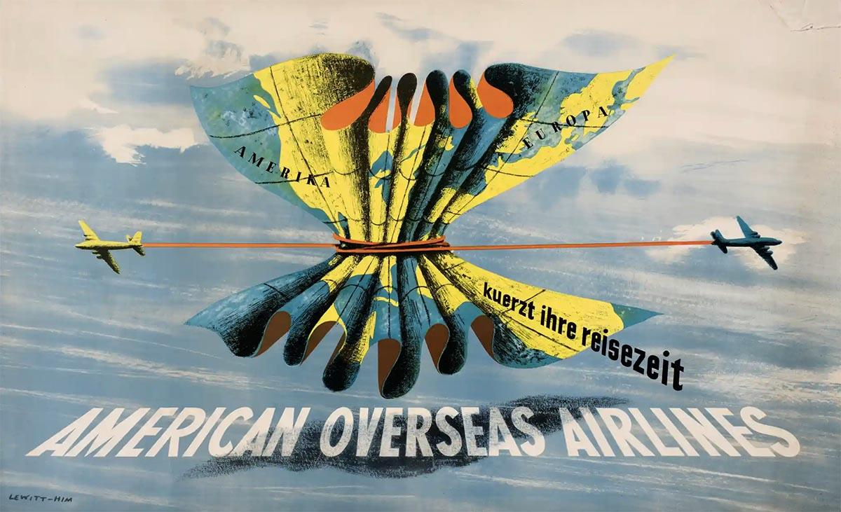 """George Him, """"Shrinking Travel Time"""", plakat dla American Overseas Airlines 1948 © The Estates of George Him and Jan Le Witt"""
