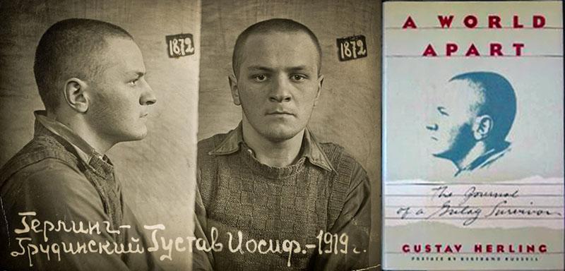 Mugshot of Gustaw Herling-Grudziński, 1940, Grodno prison, photo: Wikimedia // Cover of 'A World Apart', photo: Wikimedia Commons