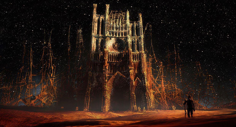 """Kadr z filmu """"Katedra"""" Tomasza Bagińskiego. Postać stoi przed katedrą, 2002, fot. Platige Image"""