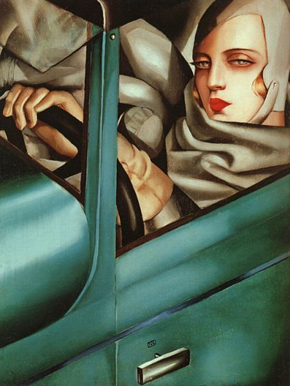 Tamara de Lempicka, Autoportrait in a green Bugatti, 1929, Roaring Twenties in Art