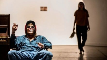 Photo from a rehearsal of The Apocalypse directed by Michał Borczuch, 2014, photo: Magda Hueckel / Nowy Teatr in Warsaw