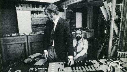 Krzysztof Penderecki and Eugeniusz Rudnik in the Polish Radio's Experimental Studio, April 1972, photo: from Ludwik Erhardt's book Meetings with Krzysztof Penderecki