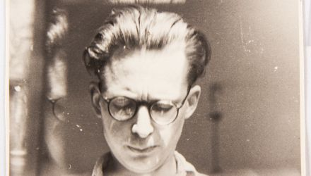 Andrzej Wróblewski, Self - portrait with Glass Reflection, b&w photography, 5,2 x 8,4 cm, courtesy of Andrzej Wróblewski  Foundation