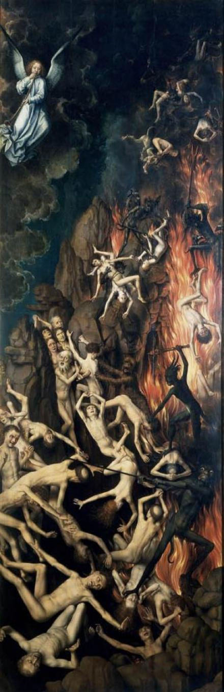 Ганс Мемлинг, «Страшный суд», ок.1467-1471, дубовая доска, темпера, масло, правая часть триптиха,  242 x 90 см, Национальный музей в Гданьске. Фото: Национальный музей в Гданьске.