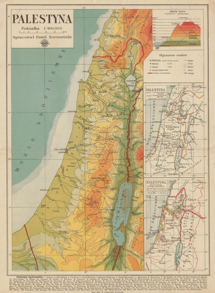 Mapa Palestyny z 1939 roku, fot. polona.pl
