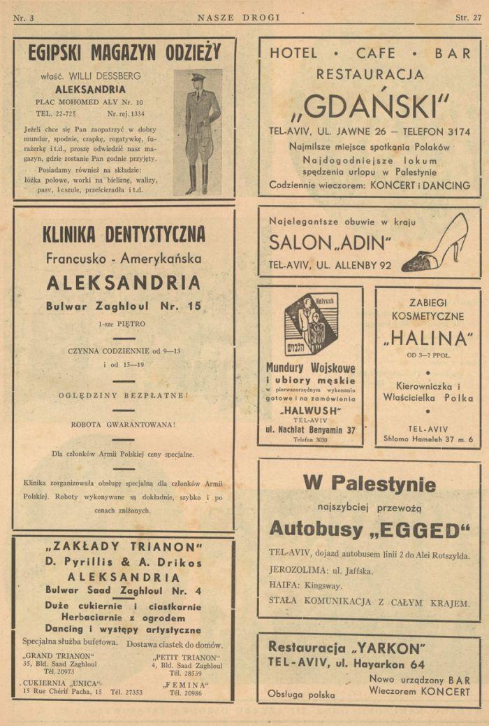 Strona z reklamami, Nasze Drogi, marzec 1941, fot. polona.pl