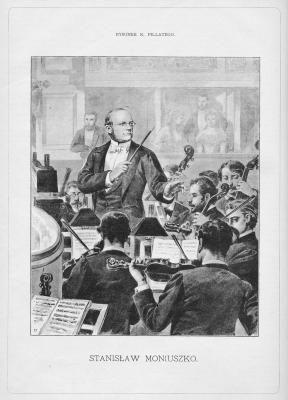 Stanisław Moniuszko na rysunku K. Pilattego, fot. Wikimedia Commons