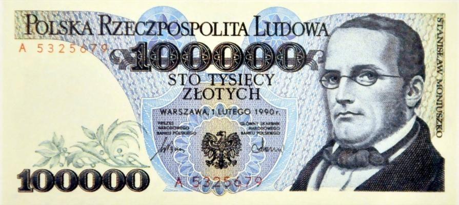 Stanisław Moniuszko na banknocie z okresu Polskiej Rzeczpospolitej Ludowej, projekt: Andrzej Heidrich, fot. Piotr Kamionka/Reporter/East News