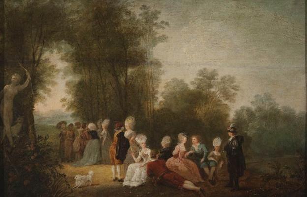"""Jean Pierre Norblin de la Gourdaine, """"Zebranie towarzyskie w parku pod posągiem Diany"""", 1779, olej, deska dębowa, fot. MNW"""