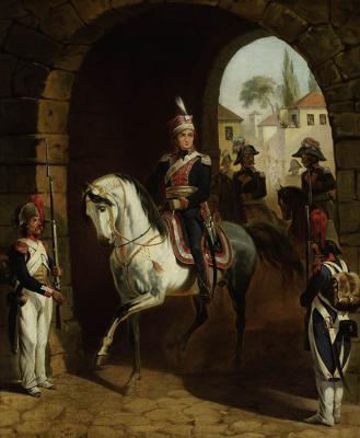 """January Suchodolski, """"Wjazd generała Henryka Dąbrowskiego do Rzymu"""", przed 1850, olej, płótno, fot. MNW"""