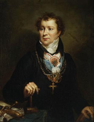 """Antoni Brodowski, """"Portret Ludwika Osińskiego"""" (wolnomularski), ok.1820, olej, płótno, fot. MNW"""
