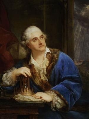 """Marcello Bacciarelli, """"Portret Stanisława Augusta Poniatowskiego z klepsydrą"""", 1793, olej, płótno, fot. MNW"""