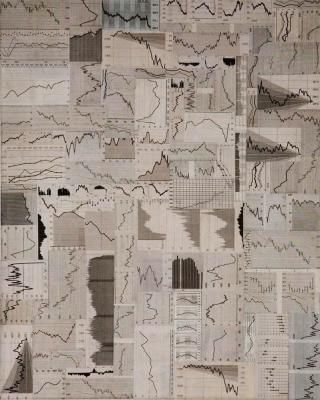 "Anna Ostoya, ""Monochromes and Landscapes '09"", 2009, kolaż i olej na płótnie, 41 x 51 cm, fot. www.waterside-contemporary.com"