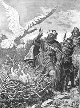 Lech i Biały Orzeł or Lech And The White Eagle, an artwork by Walery Eljasz-Radzikowski, photo: Wikipedia