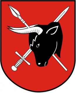 The coat of arms of Sejny, a town in North-Eastern Poland; the symbol features an aurochs' head, photo: Wikipedia