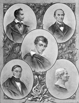 Philomaths and Philarets: Tomasz Zan, Ignacy Domejko, Adam Mickiewicz, Antoni Edward Odyniec, Jan Czeczot, picture produced in 1899, photo: Wikipedia