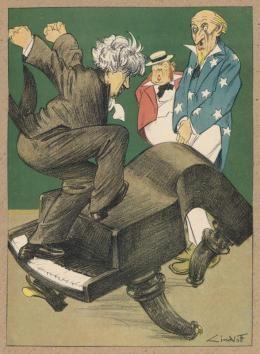 "Lindloff in Kladderadatsch, ""Polityka Paderewskiego"", 1933., fot. Mary Evans / Forum"