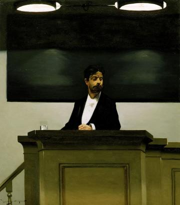 Georg Brandes at the university of Copenhagen, painting by Harald Slott-Møller; Photo: Wikipedia
