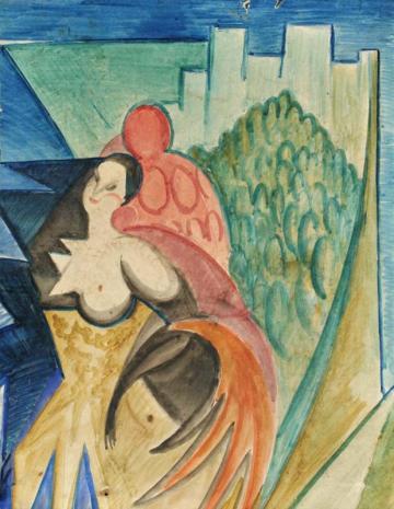 Leon Chwistek, Kompozycja streficzna z postacią kobiecą (Spheric Composition with a Female Figure), ca. 1930, watercolour on paper, 25.6 x 19.9 cm, from the collection of the National Museum in Wrocław, photo: Arkadiusz Podstawka