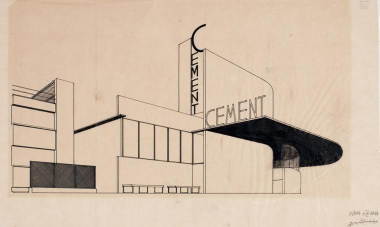 Bohdan Lachert i Józef Szanajca, projekt pawilonu Centrocementu na Powszechną Wystawę Krajową, 1928, fot. Muzeum Architektury we Wrocławiu