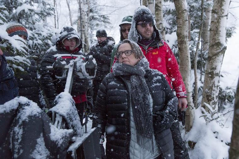 Director Agnieszka Holland on the set of her film Spoor, 2016, photo: Palka Robert/Next Film