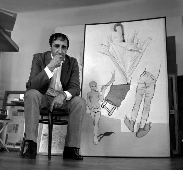 Тадеуш Кантор в своей мастерской, Краков, 1973, фото Александр Ялосинский/Forum