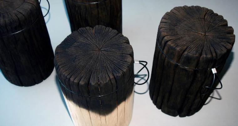 "Malafor, ""Full Fire Trunks"", colour variation of the classic was achieved by using the most appropriate woodworking process - burning., Photo courtesy of the artists"